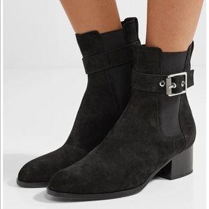 Rag & Bone Wilson black suede buckle Chelsea style boot EUC size 40